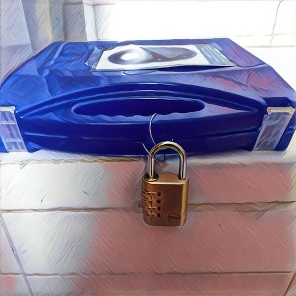 Padlock locked escape box.